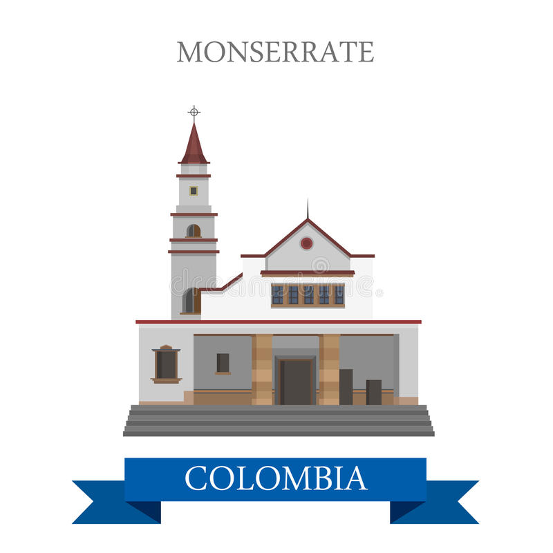 Monserrate en points de repère plats d'attraction de vecteur de Bogota Colombie illustration libre de droits