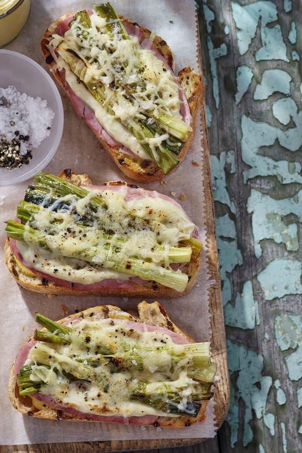 monsieur ветчины сыра хлеба зажженный croque стоковое фото