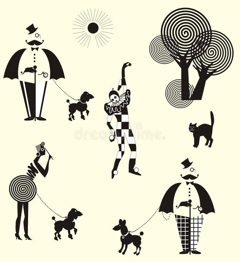 Monsieur, dames et harlequin de promenade d'amusement illustration libre de droits