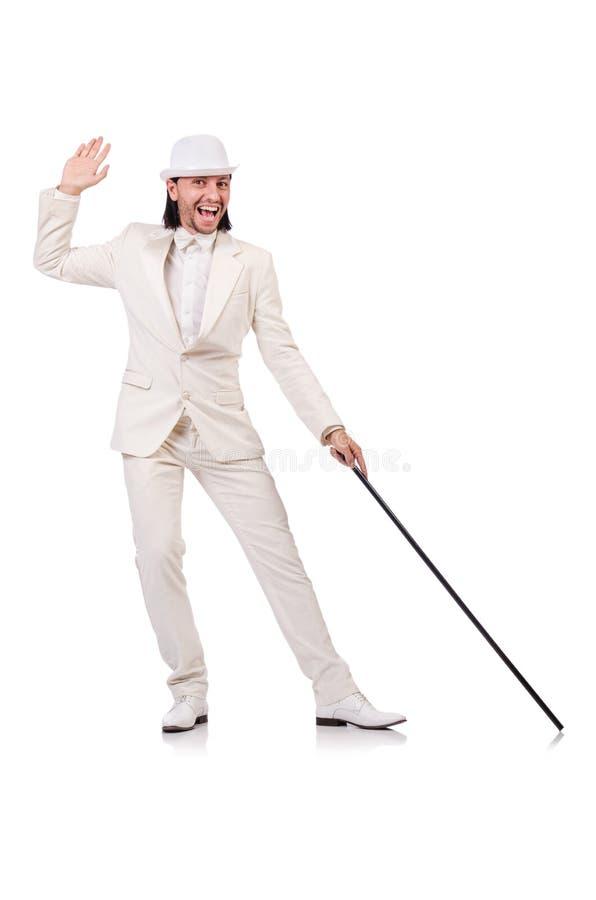Monsieur dans le costume blanc d'isolement sur le blanc photos stock
