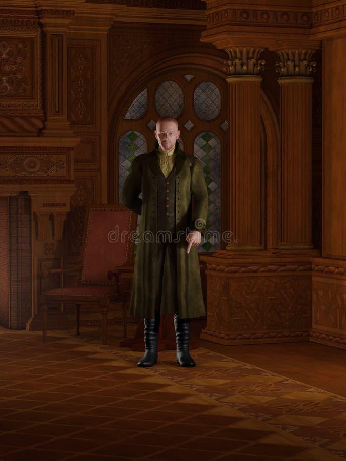 Monsieur de Regency dans son étude illustration stock