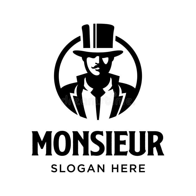 Monsieur-Logo-Symbol für schwarzen Gentleman Schnurrbart lizenzfreie abbildung