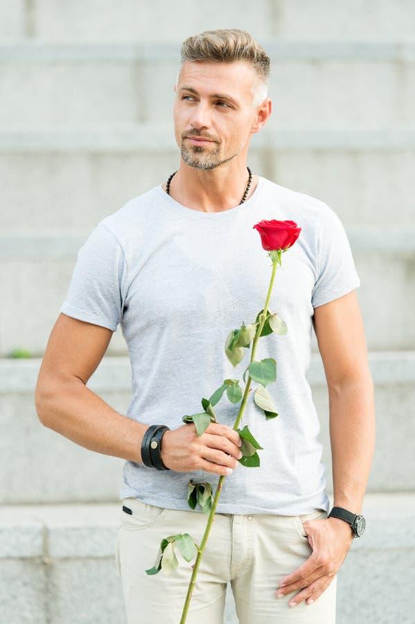 Monsieur romantique Macho mûr d'homme avec le cadeau romantique Peu roman peut augmenter votre vie amoureuse Type beau avec photos libres de droits