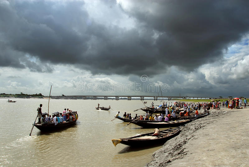 Monsoon in India. A ferry ghat during the monsoon season of Sundarban stock photos