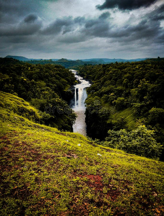 The monsoon and its beauty. Jogi bhadak waterfall in indore city of India, during the monsoon season it becomes more beautiful and attracts the tourist which royalty free stock images