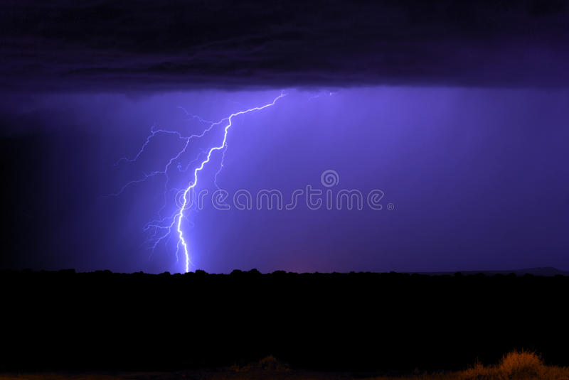 Monsoon Lightning. Lighting associated with New Mexico Monsoon stock photo