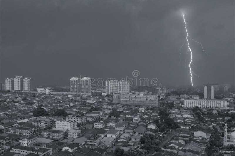 Monsoon on Petaling Jaya, Kuala Lumpur, Malaysia. Lightning on Petaling Jaya, Malaysia stock photo