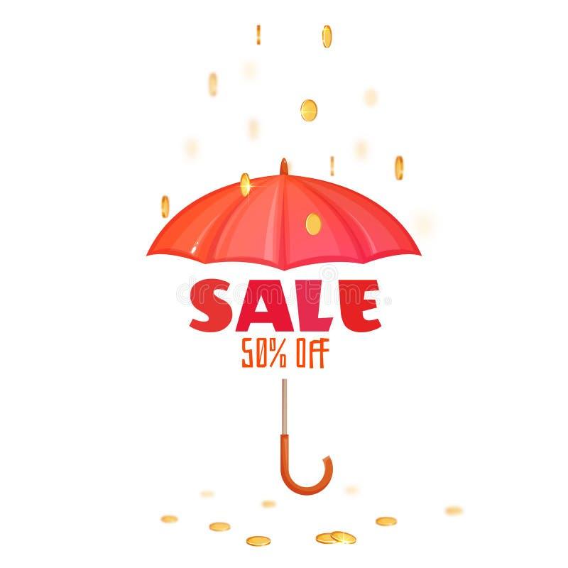 Monsoon salle banner with umbrella. Vector illustration royalty free illustration
