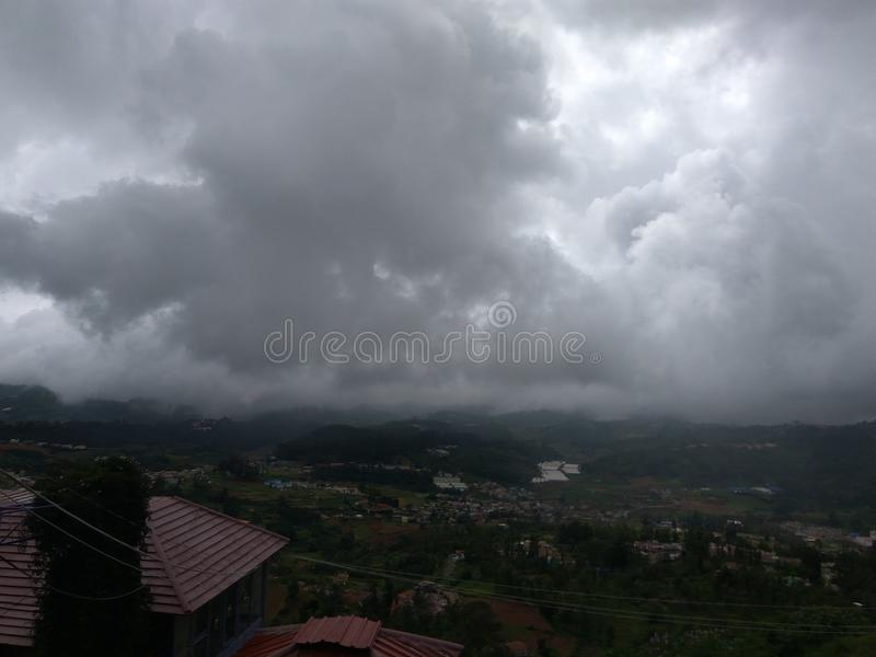 Monsoon season is for clouds to come down. royalty free stock photo