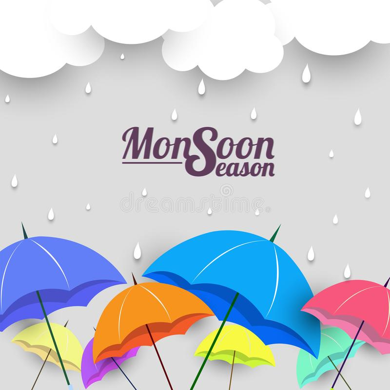 Monsoon season with colorful umbrellas. Monsoon season with colorful umbrellas, paper-art layering concept based clouds vector illustration