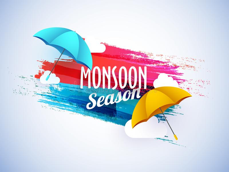 Monsoon season concept with colorful umbrellas. Monsoon season concept with colorful umbrellas on colorful splash background royalty free illustration