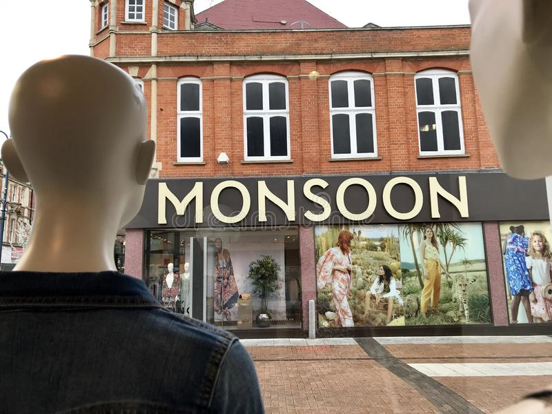 Monsoon store. Monsoon Accessorize is a British private limited company. It has a London registered address, and operates two international retail clothing royalty free stock photos