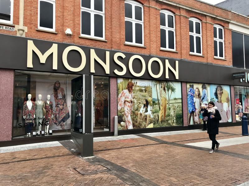 Monsoon store. Monsoon Accessorize is a British private limited company. It has a London registered address, and operates two international retail clothing stock images