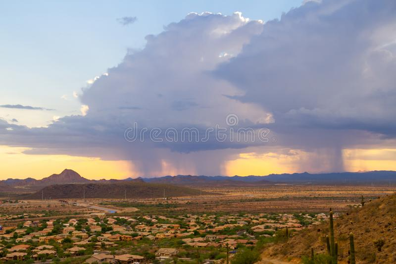 A Monsoon Storm over Arizona. A monsoon storm over the desert of Arizona during sunset stock photography