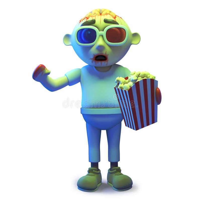 Monste asustadizo del zombi de los undead que lleva los vidrios 3d y que come las palomitas, ejemplo 3d stock de ilustración