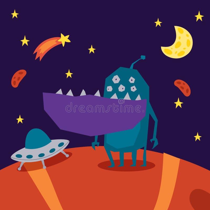 Monster alien poster, banner vector illustration. Cartoon monstrous character, cute alienated creature or funny gremlin vector illustration