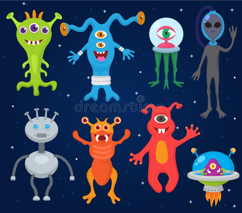 Monster alien vector cartoon monstrous character cute alienated creature or funny gremlin on halloween for kids royalty free illustration