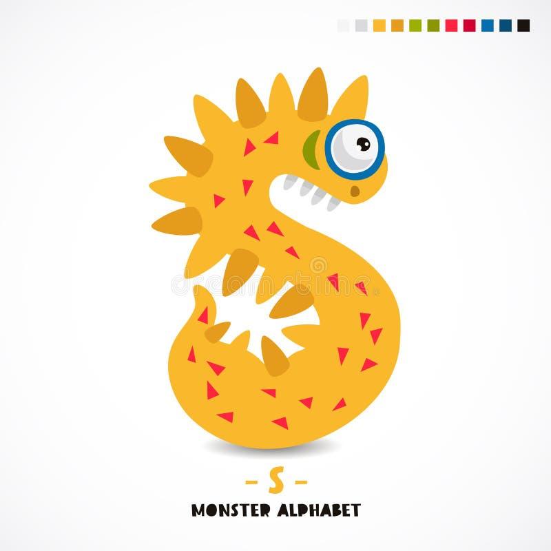 Monster-Alphabet Das Zeichen s stock abbildung
