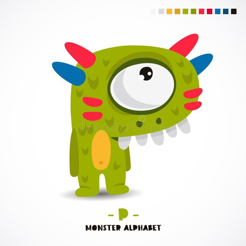 Monster alphabet. Letter P. A strange animal. Vector illustration on white background. Great children`s print. The concept of a kid`s toy stock illustration