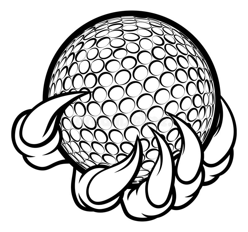 Monster or animal claw holding Golf Ball. A monster or animal claw holding a golf ball royalty free illustration