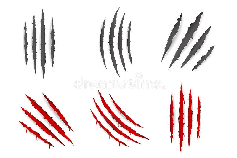 Monster animal claws bleeding scratches torn material blood set isolated design vector illustration vector illustration