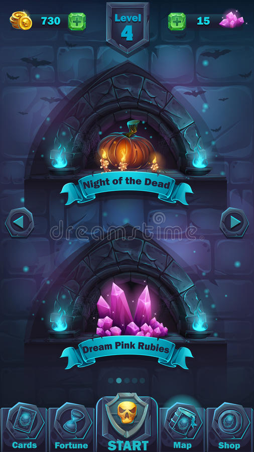 Monster battle GUI playing field royalty free illustration