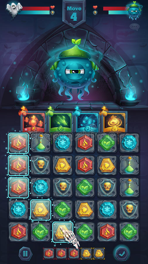 Monster battle GUI slug nature. Playing field match 3 - cartoon stylized vector illustration mobile format window with options buttons, game items, cards royalty free illustration