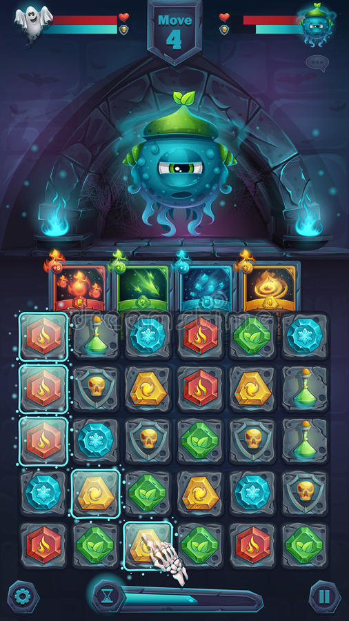 Monster battle GUI slug nature. Playing field match 3 - cartoon stylized vector illustration mobile format window with options buttons, game items, cards stock illustration