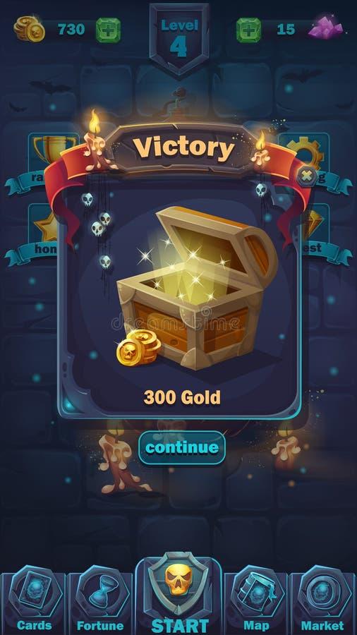 Monster battle GUI victory window royalty free illustration