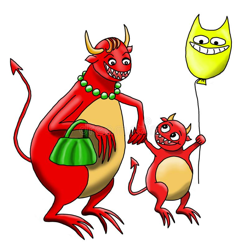 Monster-Behandla som ett barn går med den är Monster-modern tillsammans stock illustrationer