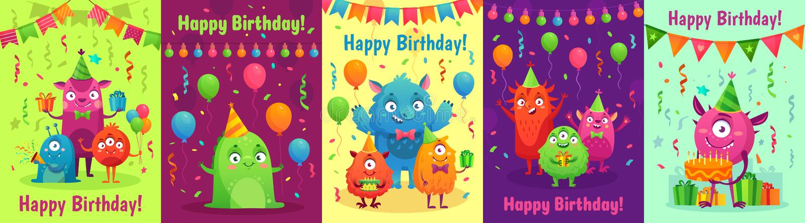 Monster birthday greeting card. Monsters with happy birthday gifts, kids party invitation and friendly monster cartoon. Monster birthday greeting card. Monsters stock illustration