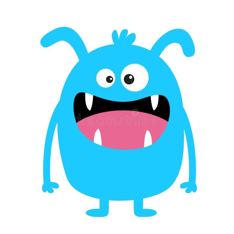 Monster blauw silhouet Het leuke enge grappige karakter van beeldverhaalkawaii Babyinzameling Gekke ogen, de tong van de hoektand royalty-vrije illustratie