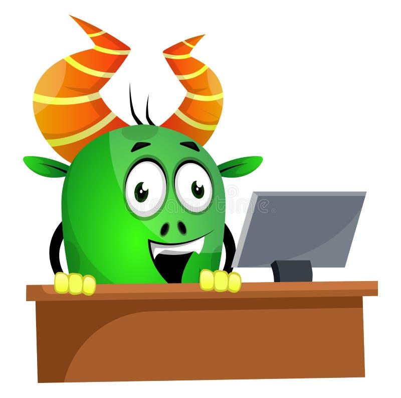 Monster browsing on computer, illustration, vector royalty free illustration