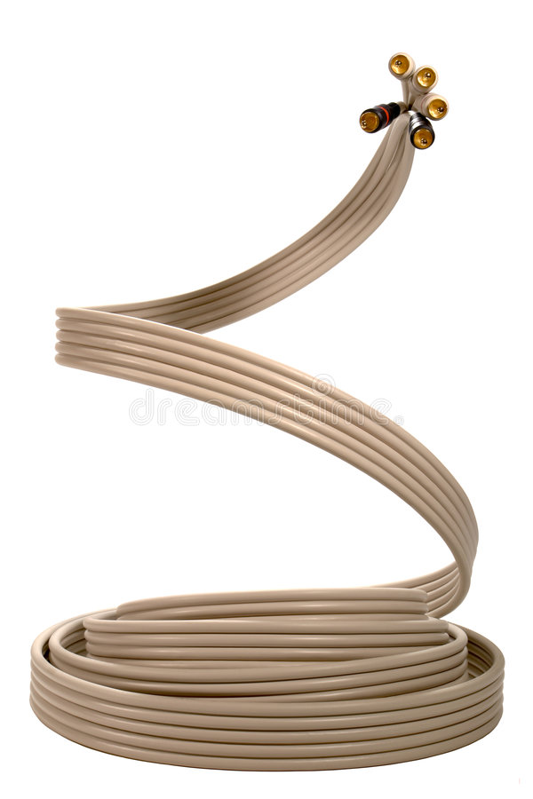 Monster Cable as a Coaxial Video Cable Cobra Snake. Television coaxial video cable with RCA type male jacks rising like a menacing cobra snake stock photos