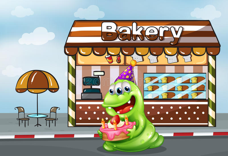 A monster with a cake near the bakery