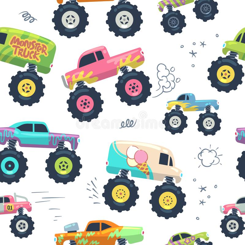 Monster cars seamless pattern. Kid trucks with big wheel. Vector endless background stock illustration
