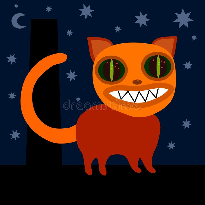 Monster cat on roof at night. Orange monster cat on roof at night - Islandic christmas mythical traditional animal stock illustration