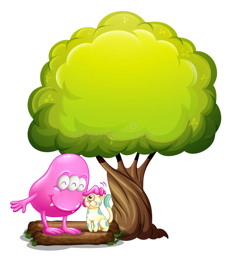 Download A Monster And A Cat Under The Tree Royalty Free Stock Images - Image: 34316109