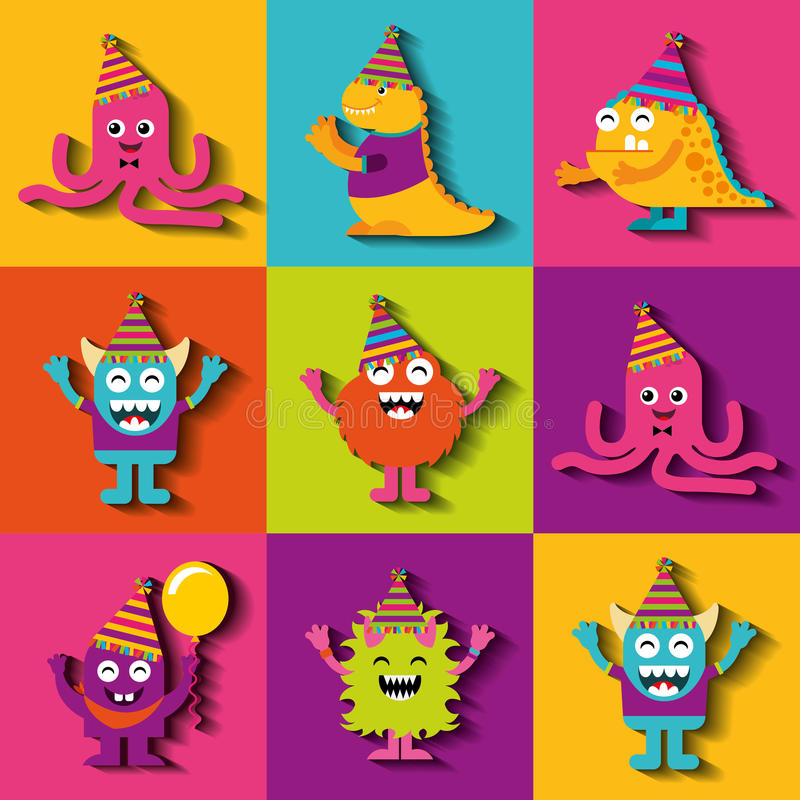 Monster characters in birthday party stock illustration