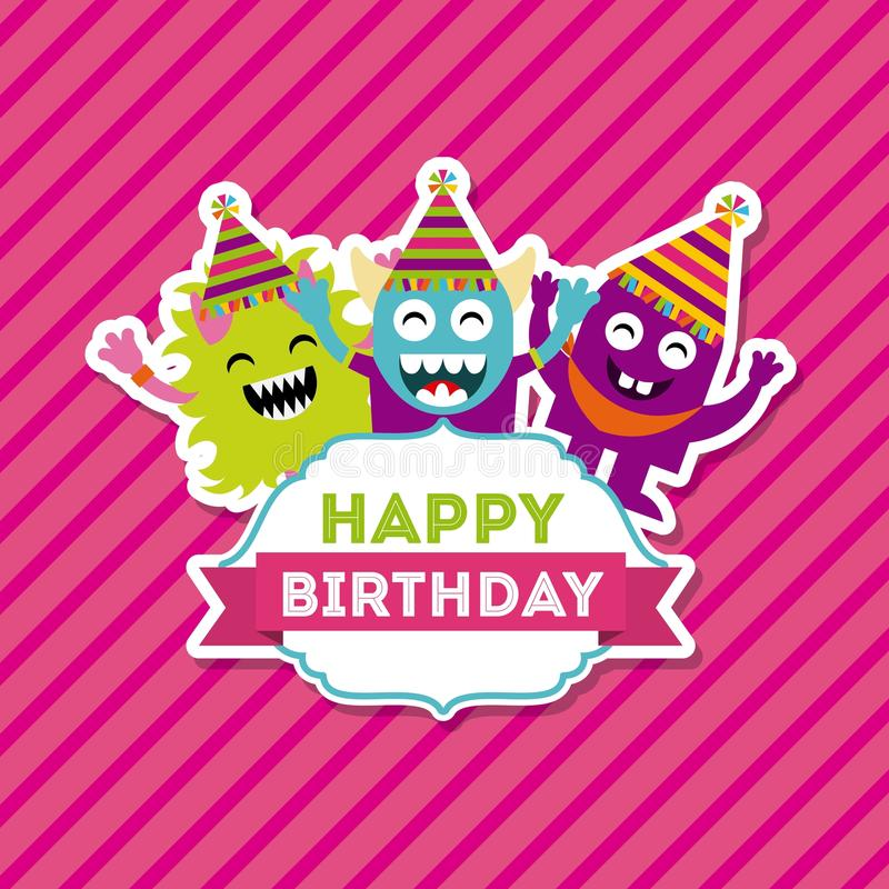 Monster characters in birthday party vector illustration
