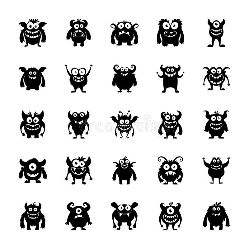 Monster Characters Icons. The monster character pack icons are depicting scary and unusual creatures in a cartoonic way to help the developers and designers in vector illustration