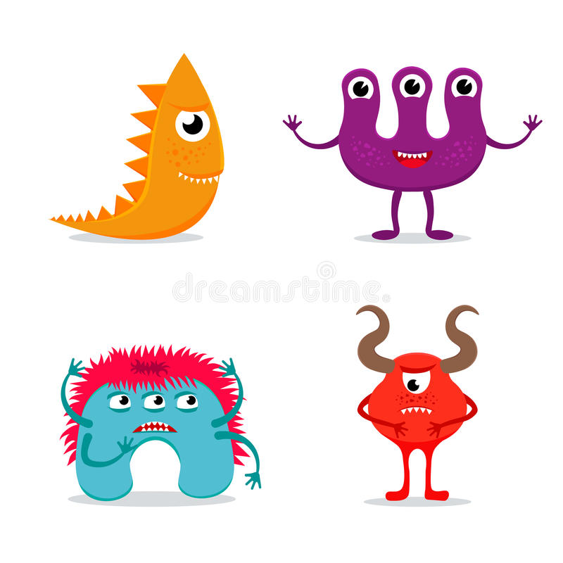 Monster characters or icons set. Set of funny colorful monster icons on white background. EPS10 vector collection of cute cartoon monster characters stock illustration