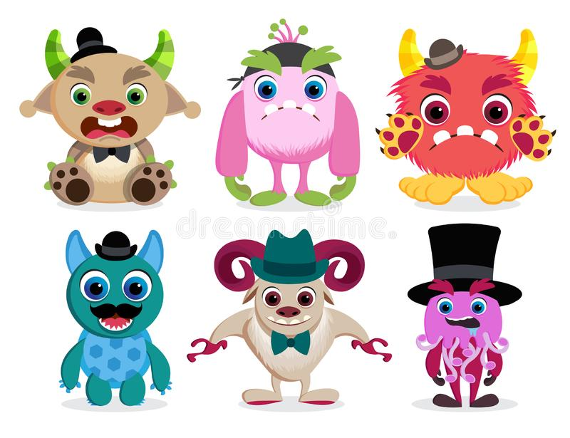 Monster characters vector set. Cute and colorful cartoon monster beast creatures royalty free illustration