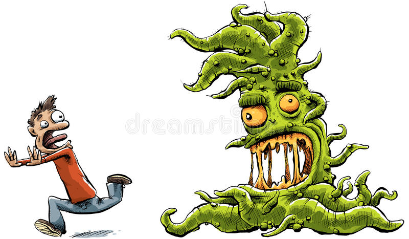 Monster Chasing Man. A slimy, green cartoon monster with tentacles chases a man royalty free illustration