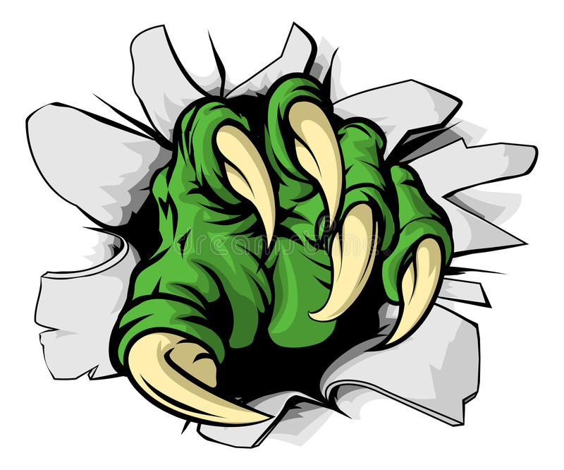 Monster claw ripping hole. An illustration of a green monster claw ripping or tearing through a hole stock illustration