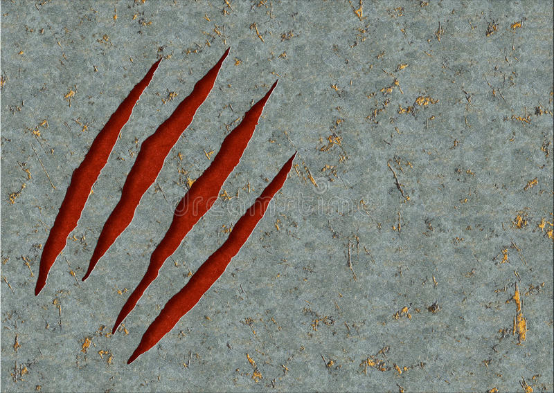 Monster claws. Horizontal background - metal, ripped monster claws vector illustration