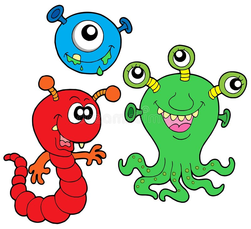 Monster collection 2. On white background - vector illustration stock illustration