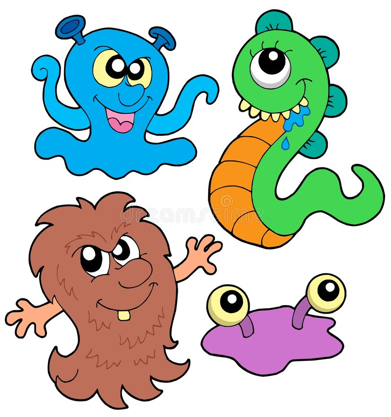 Monster collection 3. On white background - vector illustration stock illustration