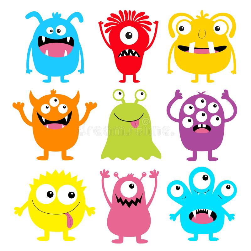 Free Monster Colorful Round Silhouette Icon Set. Eyes, Tongue, Tooth Fang, Hands Up. Cute Cartoon Kawaii Scary Funny Baby Character. Stock Image - 154476121