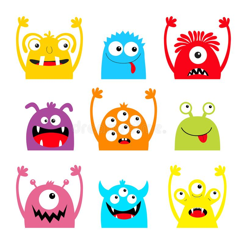 Free Monster Colorful Silhouette Head Face Icon Set. Eyes, Tongue, Tooth Fang, Hands Up. Cute Cartoon Kawaii Scary Funny Baby Character Stock Image - 159020751